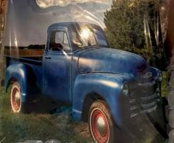 1 Flat Ceramic Tile With A Picture Of An Old Blue Chevy Truc