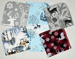 1 Ply Printed Flannel 12x12 inches Deer in Winter Set-5 Pack