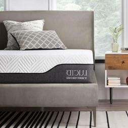LUCID 10 Inch Queen Hybrid Mattress - Bamboo Charcoal and Al