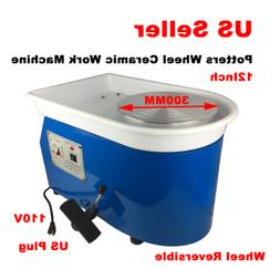110V Continuously Potters Wheel Ceramic Work Machine 12Inch