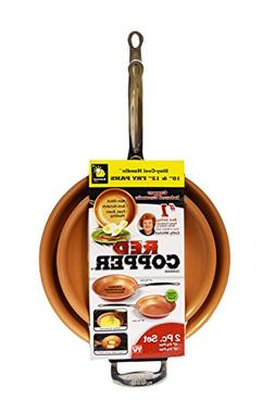Red Copper Cookware 10- and 12-Inch Frying Pan Set of 2 by B