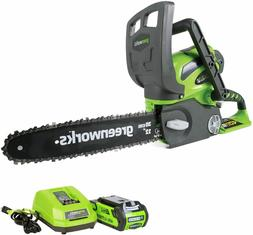 Greenworks 12-Inch 40V Cordless Chainsaw, 2.0 AH Battery and