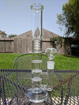 "12"" inch Glass Water Pipe Bong - Triple Honeycomb + Showerhe"
