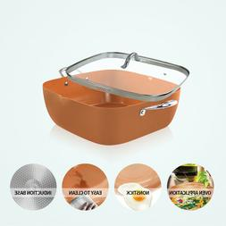 12 Inch Induction Based Non Stick Copper Ceramic Square Fry