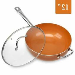 SHINEURI 12-inch Nonstick Woks and Stir Fry Pans with Lid, N