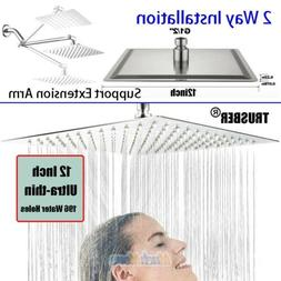 12-Inch Stainless Steel Square Rainfall Shower Head Ultra Th