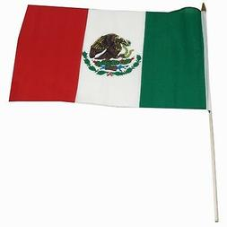 """12x18 12""""x18"""" Mexico Mexican Stick Flag wood staff  Wooden P"""