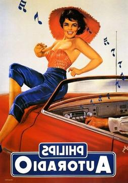 170699 Philips Car Radio Music Lady Dancing Automobile WALL