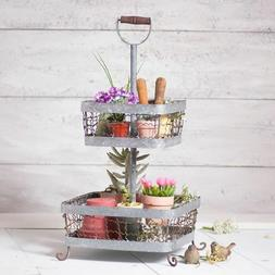 2 Tier Table Display in Weathered Zinc Finish