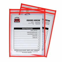 2 x C-Line Neon Stitched Shop Ticket Holders Clear 9 x 12 In