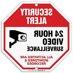 24 Hour Video Surveillance Sign, Security Camera Sign Warnin