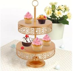 2Tier Gold Cupcake Stand Metal Cake Tower  Reversible Tier 1