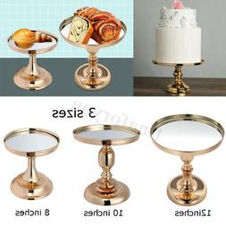 8 10 12 Inch Gold Plated Mirror Cake Stand Glass Round Weddi