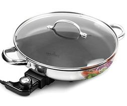 Electric Skillet By Culina 18/10 Stainless Steel, Nonstick I