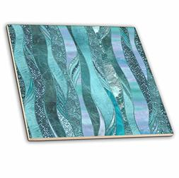 3dRose Blue and Turquoise Abstract Glamorous Stripes Ceramic