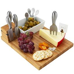 Picnic at Ascot Bamboo Cheese Board with 4 Stainless Steel C