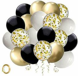 Black and Gold Confetti Balloons, 50 Pack 12inch White Latex
