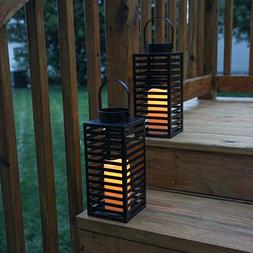 Flameless Black Candle Lanterns with Warm White LEDs, Metal