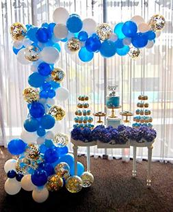 PartyWoo Blue Gold and White Balloons 70 pcs 12 inch Royal B