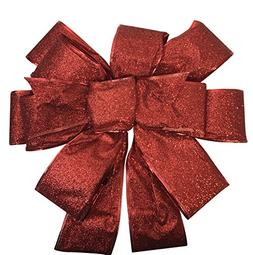 Bow Christmas Tree Topper: Beautiful Large Red Sparkly Glitt
