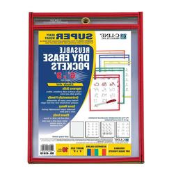 C-Line Reusable Dry Erase Pockets, 6 x 9 Inches, Assorted Pr