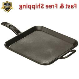 Cast Iron Griddle 12 Inch Square Pre Seasoned Grill Pan Dura