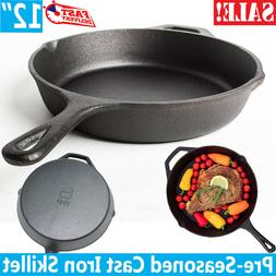 Cast iron skillet 12 Inch Pre Seasoned Frying Cookware Pot O