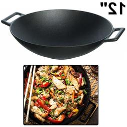 CAST IRON WOK Pre Seasoned Heavy Duty Cooking 12 Inch Large