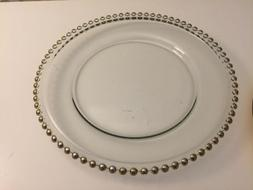 Tiger Chef 12-inch Round Rose Gold Round Beaded Glass Charge