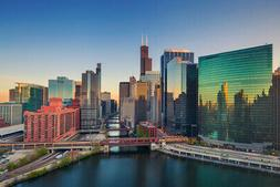 Chicago Illinois Downtown River At Dawn Skyline Photo Poster