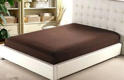 Chocolate Solid  Fitted Sheet 100% Cotton Mattress Full Elas