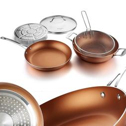 copper pan 12 inch nonstick induction stir