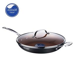 COOKSMARK Copper Pan 12-Inch Nonstick Induction Compatible F