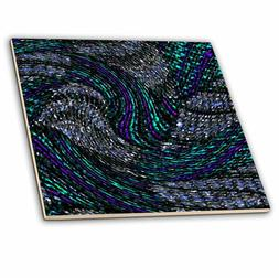 3dRose ct_17251_4 Fractural Art Cyan Blue Plaid Swirls-Ceram