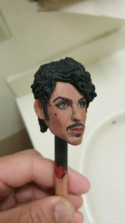 Custom painted 1/6 prince head purple rain for 12 inch body