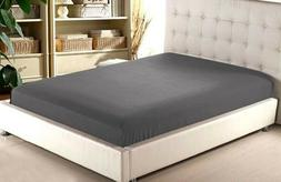 Dark Grey Solid Fitted Sheet Only 100%Cotton Mattress Full E