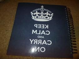 3dRose db_123114_2 Keep Calm and Carry on Navy Memory Book,