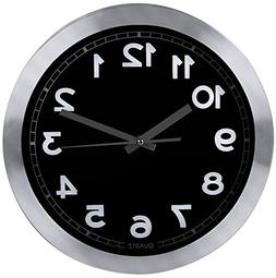 Decorative 12-Inch Black Wall Clock  - Non-Ticking, Silent S