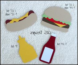 Die Cut Hamburger & Hot Dog Food Scrapbook Page Embellishmen