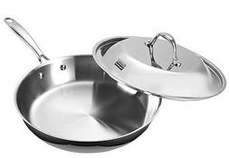 Fry Pan Stainless Steel Multi-Ply Clad 12 Inch Lid Induction