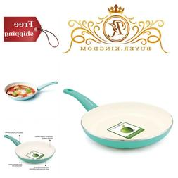 "GreenLife Soft Grip 12"" Ceramic Non-Stick Open Frypan, Turqu"