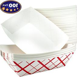 Heavy Duty, Grease Resistant 3 Lb Paper Food Trays 100 Pack.
