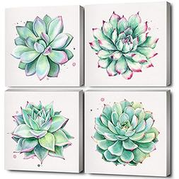 Home Wall Art Décor Succulent Plants Simple Life Canvas Oil