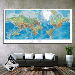 Huge large Banner Canvas Earth ocean World Map Classic Elite