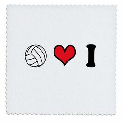 3dRose I Love Volleyball - Quilt Square, 12 by 12-Inch, Free