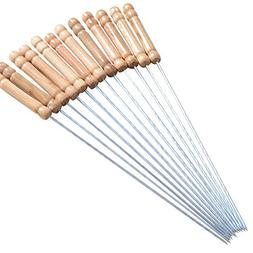 "CHICHIC 12"" Set of 12 Kabob Skewers, Wooden Handle & Stainle"