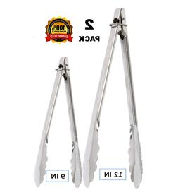 ChefNeno Kitchen Food Tongs Stainless-steel Tongs 9 & 12 Inc