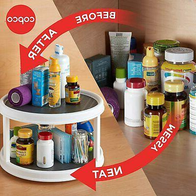 Lazy Susan Turntable 2-Tier Non-Skid Cabinet