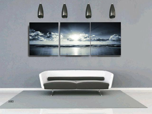 3 Pcs Black White Blue Sunset Bathroom Wall Art Picture Canvas Prints Framed