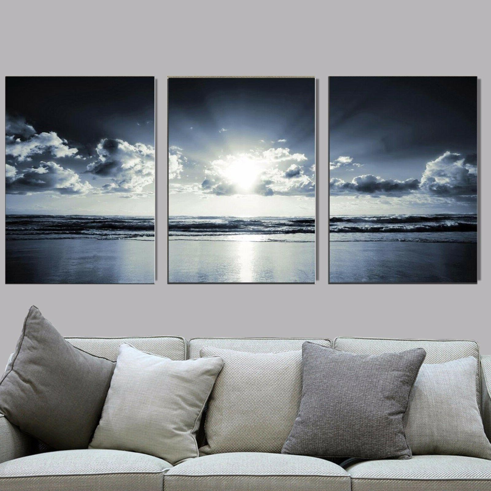 3 Pcs Blue Sunset Wall Picture Canvas Prints